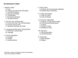 The Universals of Culture I Material Culture A