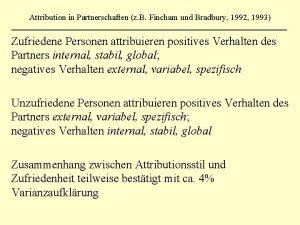 Attribution in Partnerschaften z B Fincham und Bradbury