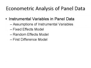 Econometric Analysis of Panel Data Instrumental Variables in