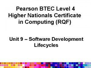 Pearson BTEC Level 4 Higher Nationals Certificate in