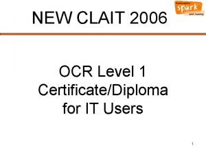 NEW CLAIT 2006 OCR Level 1 CertificateDiploma for