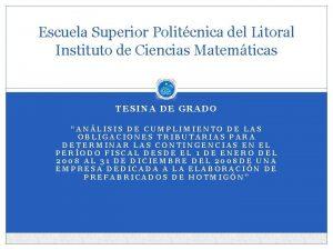 Escuela Superior Politcnica del Litoral Instituto de Ciencias
