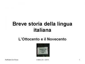Breve storia della lingua italiana LOttocento e il