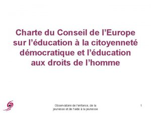 Charte du Conseil de lEurope sur lducation la