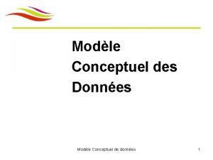 Modle Conceptuel des Donnes Modle Conceptuel de donnes