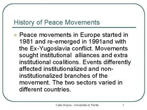 History of Peace Movements l Peace movements in