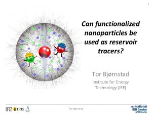 1 Can functionalized nanoparticles be used as reservoir