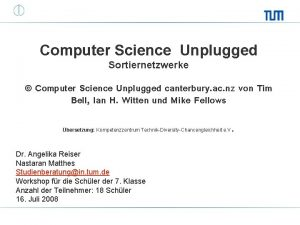 Computer Science Unplugged Sortiernetzwerke Computer Science Unplugged canterbury