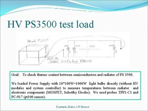 HV PS 3500 test load Goal To check
