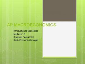AP MACROECONOMICS Introduction to Economics Modules 1 4