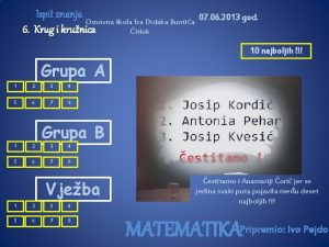 Ispit znanja Osnovna kola fra Didaka Buntia 6