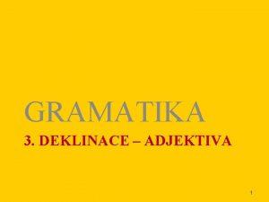 GRAMATIKA 3 DEKLINACE ADJEKTIVA 1 TYPY ADJEKTIV 3