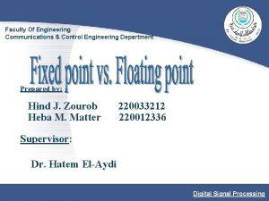 Faculty Of Engineering Communications Control Engineering Department Prepared
