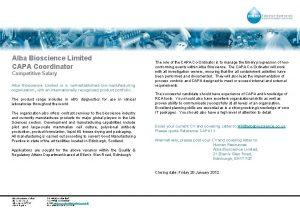 Alba Bioscience Limited CAPA Coordinator Competitive Salary Alba