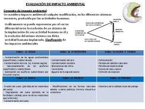 EVALUACIN DE IMPACTO AMBIENTAL Concepto de impacto ambiental