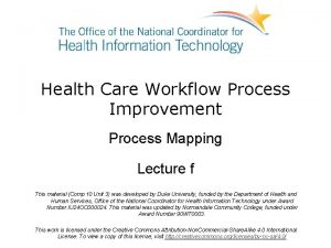 Health Care Workflow Process Improvement Process Mapping Lecture