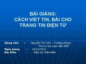 BI GING CCH VIT TIN BI CHO TRANG
