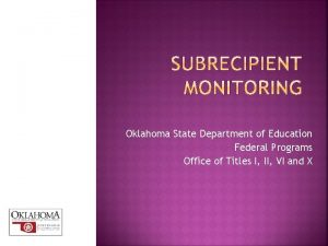 Oklahoma State Department of Education Federal Programs Office