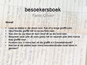 besoekersboek Fanie Olivier Vooraf Loop so bietjie in