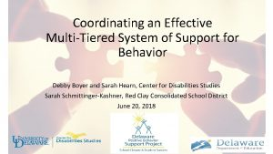 Coordinating an Effective MultiTiered System of Support for