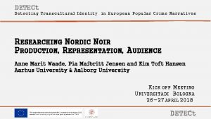 DETECt Detecting Transcultural Identity in European Popular Crime