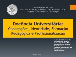 Universidade de So Paulo Faculdade de Filosofia Cincias