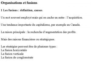 Organisations et fusions 1 Les fusions dfinition causes