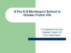 A Pre K8 Montessori School in Greater Fulton