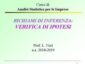 Corso di Analisi Statistica per le Imprese RICHIAMI