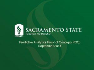 Predictive Analytics Proof of Concept POC September 2014