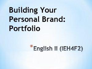 Building Your Personal Brand Portfolio Tasks for 8