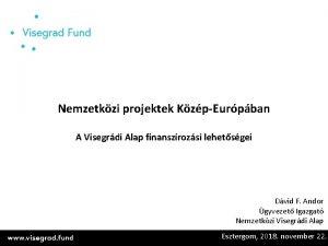 Nemzetkzi projektek KzpEurpban A Visegrdi Alap finanszrozsi lehetsgei