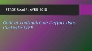 STAGE Rso LP AVRIL 2018 Got et continuit