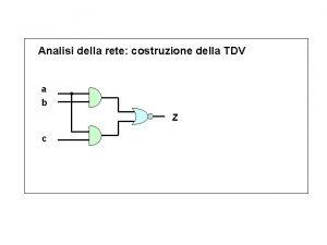 Analisi della rete costruzione della TDV a b
