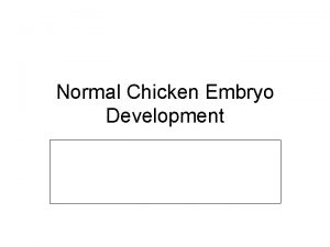 Normal Chicken Embryo Development About the Chicken The