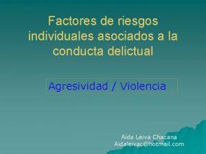 Factores de riesgos individuales asociados a la conducta