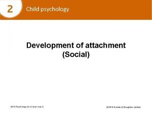 Child psychology Development of attachment Social OCR Psychology