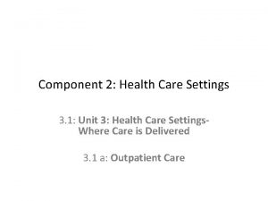 Component 2 Health Care Settings 3 1 Unit