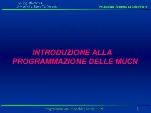 Dip Ing Meccanica Universit di Roma Tor Vergata