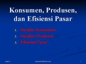 Konsumen Produsen dan Efisiensi Pasar 1 2 3
