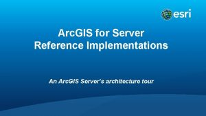 Arc GIS for Server Reference Implementations An Arc