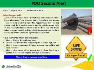 PDO Second Alert Date 27 August 2017 Incident