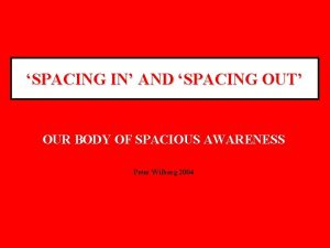 SPACING IN AND SPACING OUT OUR BODY OF