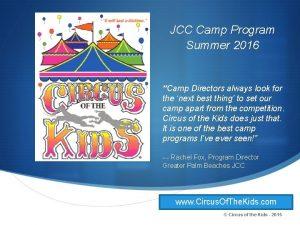 JCC Camp Program Summer 2016 Camp Directors always