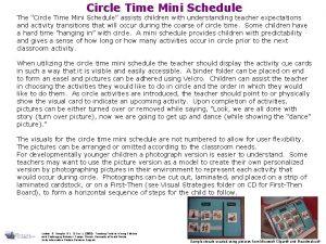 Circle Time Mini Schedule The Circle Time Mini