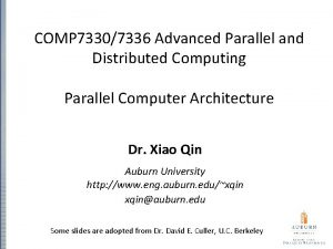 COMP 73307336 Advanced Parallel and Distributed Computing Parallel
