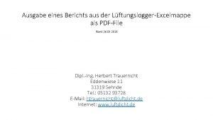 Ausgabe eines Berichts aus der LftungsloggerExcelmappe als PDFFile
