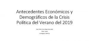 Antecedentes Econmicos y Demogrficos de la Crisis Poltica