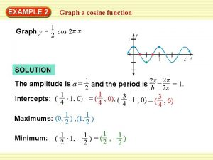 EXAMPLE 2 Graph a cosine function 1 Graph