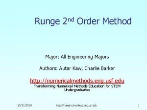 Runge 2 nd Order Method Major All Engineering